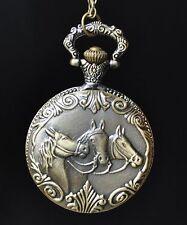 Montre de Poche à Gousset Bronze Chaîne Vintage Cheval 3 Horse Horloge
