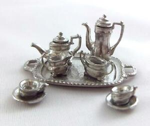 Dolls House Pewter Silver Tea Set 1:24 Scale Miniature Dining Room Accessory