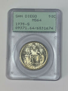 1935-S PCGS MS64 Classic Commemorative San Diego Half Dollar In Old Green Holder