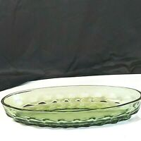 "Vintage Indiana Glass Green Bowl Oval 10""x 4-1/2""x2"" Thumbprint Pattern Preowned"