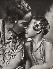 1934 Vintage 11x14 OCEANIA ~ Samoa Mother Child Kiss Love Flower Beeds Photo Art