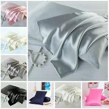 Satin Silk Pillowcase Pillow Case Cover Queen Standard Cushion Cover US