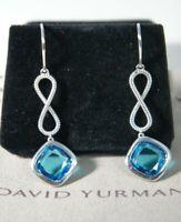 David Yurman 925 Silver BLUE Topaz Infinity Continuance Drop Earrings & DY Pouch