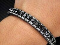 "5 ct Black & White Round Diamond Men's Tennis Bracelet 925 Sterling Silver 8"""