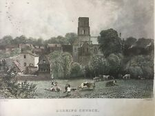 1839 Antique Print;  Dorking Church and Town, Surrey