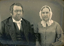 1/4 PLATE DAGUERREOTYPE PHOTO PORTRAIT OF A COUPLE WITH IDENTIFICATION NOTE