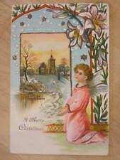 Christmas - Angel Child & Church c1910 Glitter Postcard