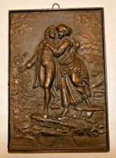 Early American? Antique Bronze Plaque Colonial FREE SHIPPING!