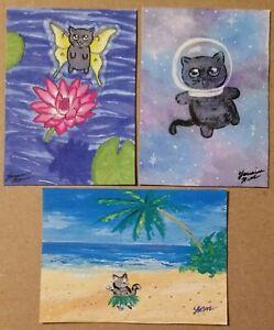 ACEO Cat PRINT lot of 3 mini art card kitty kittens fairy galaxy fantasy cute