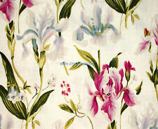 1YD CECILIA IRIS Flower Meadow Cream Pink Camelot Cottons Fabric 2105704