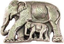 Gürtelschnalle Elefant mit Jungtier silber