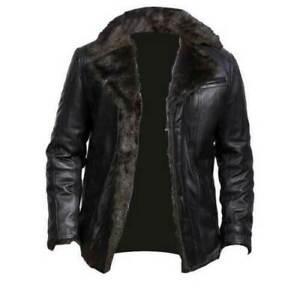 Mens Aviator Shearling Bomber Black Genuine Sheepskin Leather Jacket