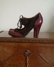 BERTIE Est1974 Burgundy Plum Leather Suede Court Shoes Heels UK5 EU38 Fabulous!