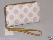 Fossil Leather Sydney Signature Zip Phone Wristlet Pink Print SL4273676 NWT