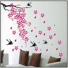 Pink Flying Flower Sakura Black Swallow Bird Wall Sticker Decal Vinyl Art Home