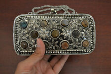 AGATE STONE BEADS HANDMADE BRASS METAL PURSE #8007