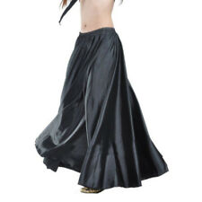 Full Circle Satin Long Skirt Swing Belly Dance Costume Tribal Skirts Solid Color
