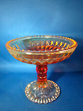 Amberina Candy Dish Compote Beaded Windsor Pedestal Jeanette Glass @3B