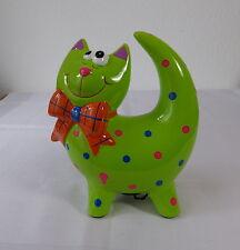 """Spardose Keramik """" Katze grün """" mit Schloß und Schlüssel"""