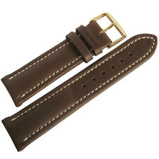 18mm Mens Fluco Chrono Nabucco Smooth Brown Leather GOLD Buckle Watch Band Strap