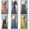 Long Maxi Dress Sleeveless Long Sleeve Blue White Yellow Floral Sz S  M  L 1X