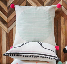 """Full Moon Duck Egg Cushion Cover 24"""" x 24"""" / 60 x 60cm BNWTS with POM POMS"""