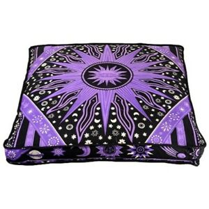 Astrology Floor Cushion Meditation Cushion Cover Indian Mandala Floral Cushion