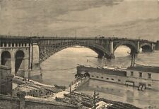 Saint Louis Bridge. Missouri 1885 old antique vintage print picture
