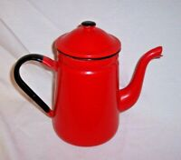 "ANTIQUE 8"" TALL RED Graniteware / Enamelware COFFEE TEA POT EXCELLENT CONDITION"
