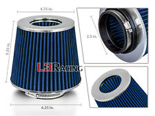 "BLUE 2.5 Inches 2.5"" Inlet 63mm Cold Air Intake Cone Dry Filter For Acura Honda"