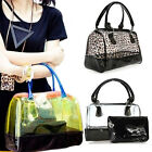 Hot Fashion Bag PVC 2in1 Handbag Jelly Woman Ladies Clear Transparent Bucket New