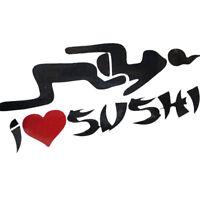 Adesivo sticker auto automobile moto sexy I LOVE SUSHI impermeabile NERO