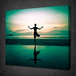 YOGA ON THE BEACH CANVAS WALL ART PICTURE PRINT VARIETY OF SIZES FREE UK P&P