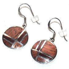 Boucles d'oreilles argent massif 925 et bois bijou earring