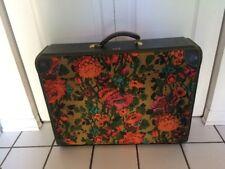 WOW Vintage Mid Century Mod Flower Green Orange Pink Suitcase Overnight