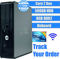 DELL CORE 2 DUO COMPUTER DESKTOP TOWER WINDOWS 10 8GB 500GB HDD GAMING PC FAST