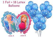 Frozen Elsa Anna Large Mirror Foil Balloon & 18 Blue Snowflake Latex Balloons