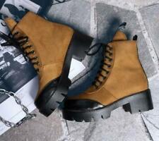 Fashion Korean Collegiate Womens Platform Lace Up Ankle Boots Winter Block Heel