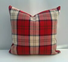 "Handmade 16"" Cushion Cover Afton Check Red Cream Tartan Plaid M&S"