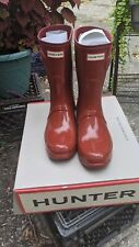 Hunter Original Women's Short Gloss Red Rain Boots Size 10