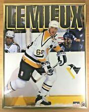 Vintage 1992 Mario Lemieux Pittsburgh Penguins Poster Original Frame 16x20 NHL
