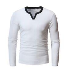 Herrenmode T-Shirt V-Ausschnitt Casual Langarm Basic Tees Pullover Schlank Neu B