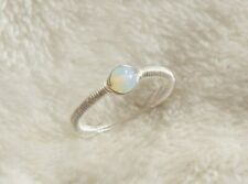 Moonstone Sterling Silver Wire Wrapped Ring Simple OpaliteHandmade Size L