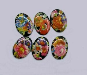 10 Colorful Oval Black Floral Cabochon 14 x 10 mm Germany Vintage