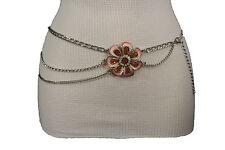 Women Belt Hip Waist Belly Silver Metal Chain Side Waves Fashion Pink Flower S M