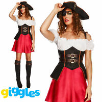 Sexy Pirate Wench Costume Buccaneer Womens Ladies Halloween Fancy Dress Outfit
