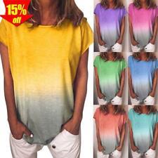 ? Damen Gradient T-Shirt Kurzarm Shirt Freizeit Lose Bluse Oberteile Sommer Top