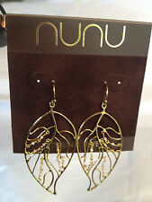 NuNu Sterling Silver Gold Tone Leaf Earrings