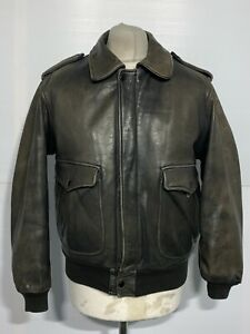VINTAGE 80's DISTRESSED LEATHER CREEKS AIR FORCE BOMBER JACKET SIZE S ZIP LINER