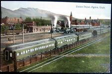 OGDEN Utah ~ 1900's Union Depot ~ Train Station ~ Smoking Trains Leaving !